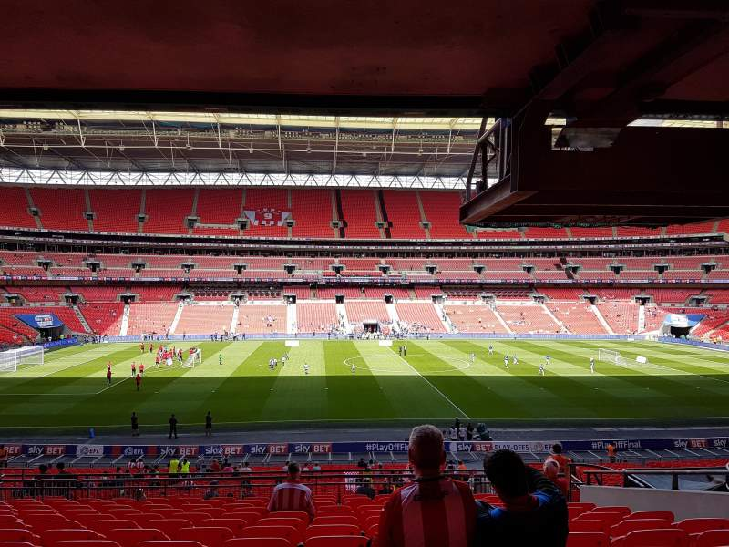 wembley stadium section 123 row 43 seat 27 blackpool. Black Bedroom Furniture Sets. Home Design Ideas