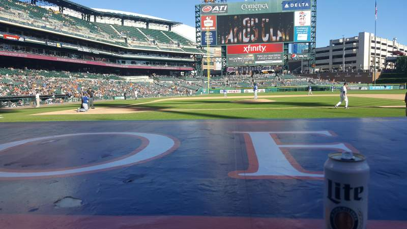 Seating view for COMERICA PARK Section 123 Row A Seat 1