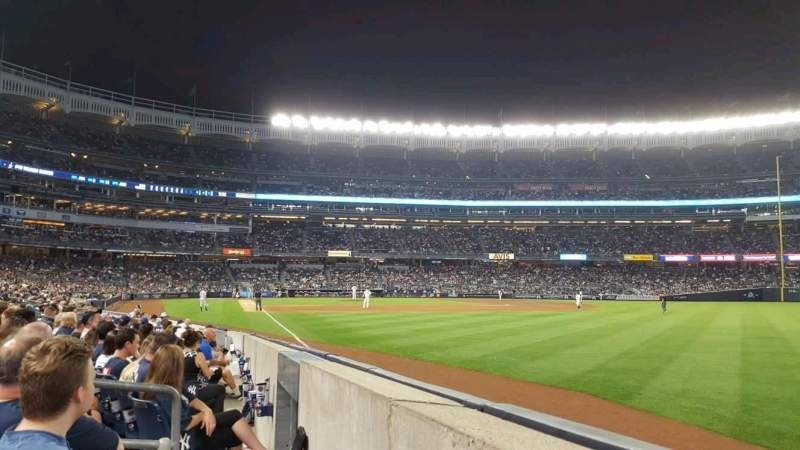 Seating view for Yankee Stadium Section 109 Row 2 Seat 1