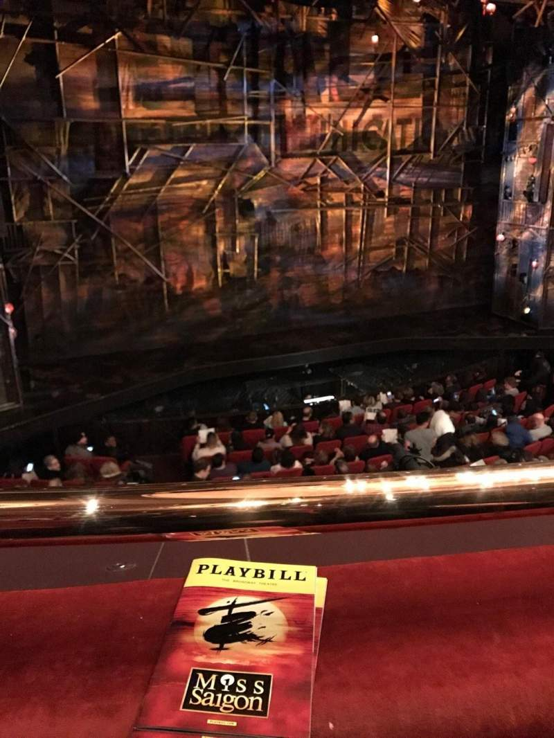 Seating view for Broadway Theatre - 53rd Street Section Mezzanine Row A Seat 102