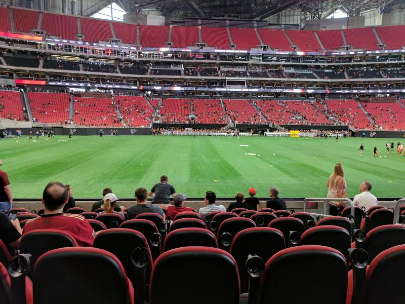 Seating view for Mercedes-Benz Stadium Section C112 Row 8 Seat 1