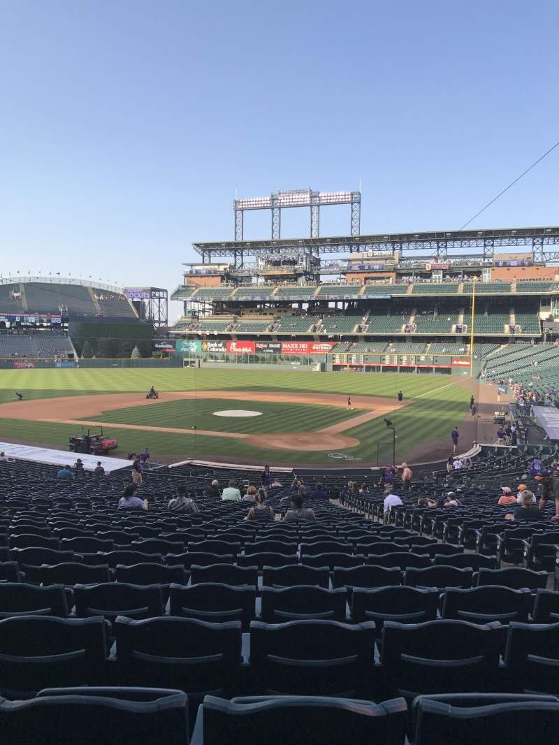 Seating view for Coors Field Section 133 Row 38 Seat 4