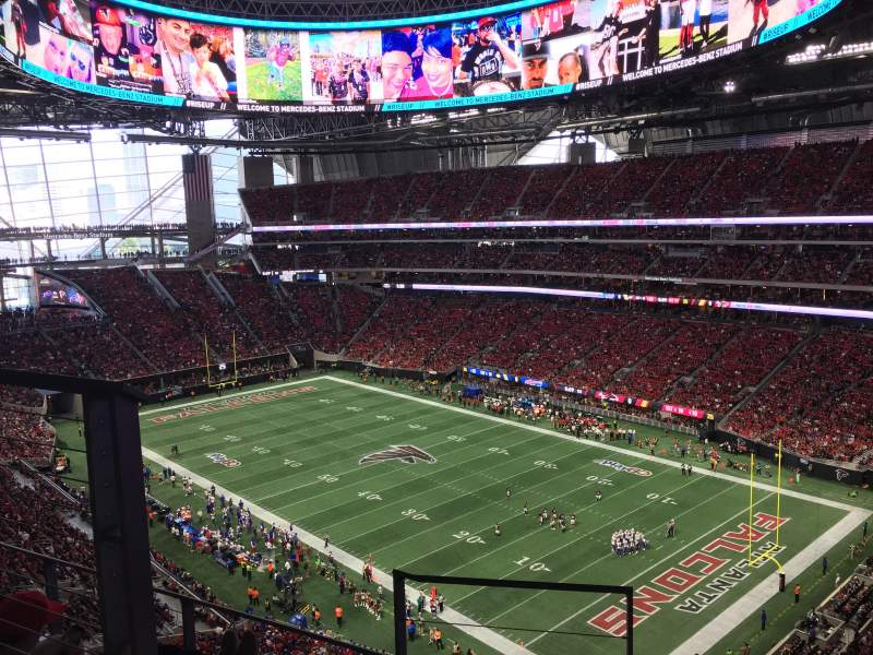 Mercedes benz stadium section 332 row 4 seat 11 home for Hotel near mercedes benz stadium atlanta