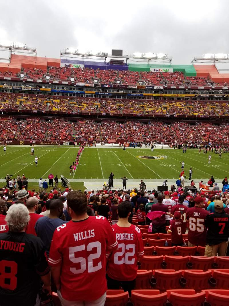 FedEx Field, section: 123, row: 23, seat: 6