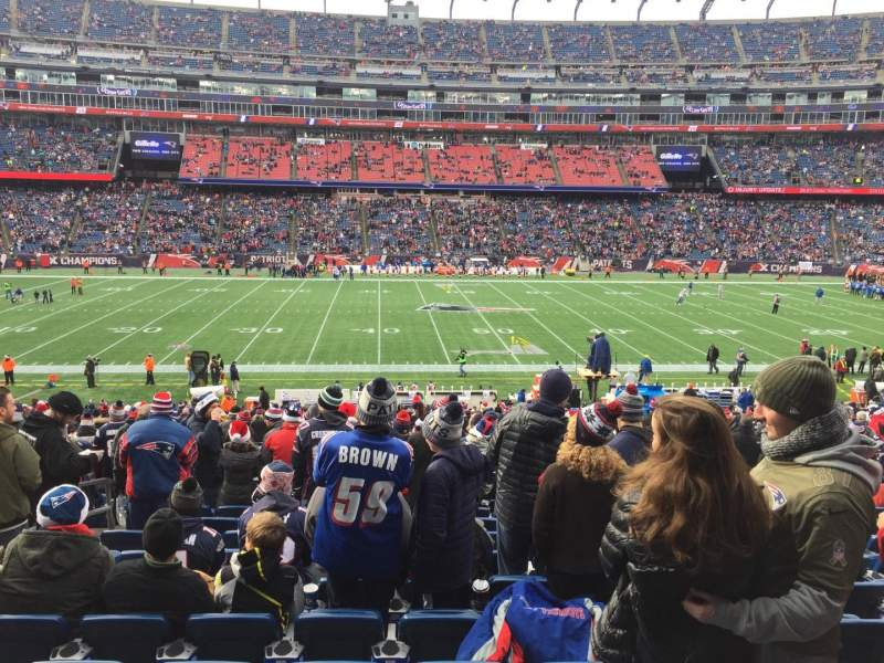 Seating view for Gillette Stadium Section 110 Row 34 Seat 18