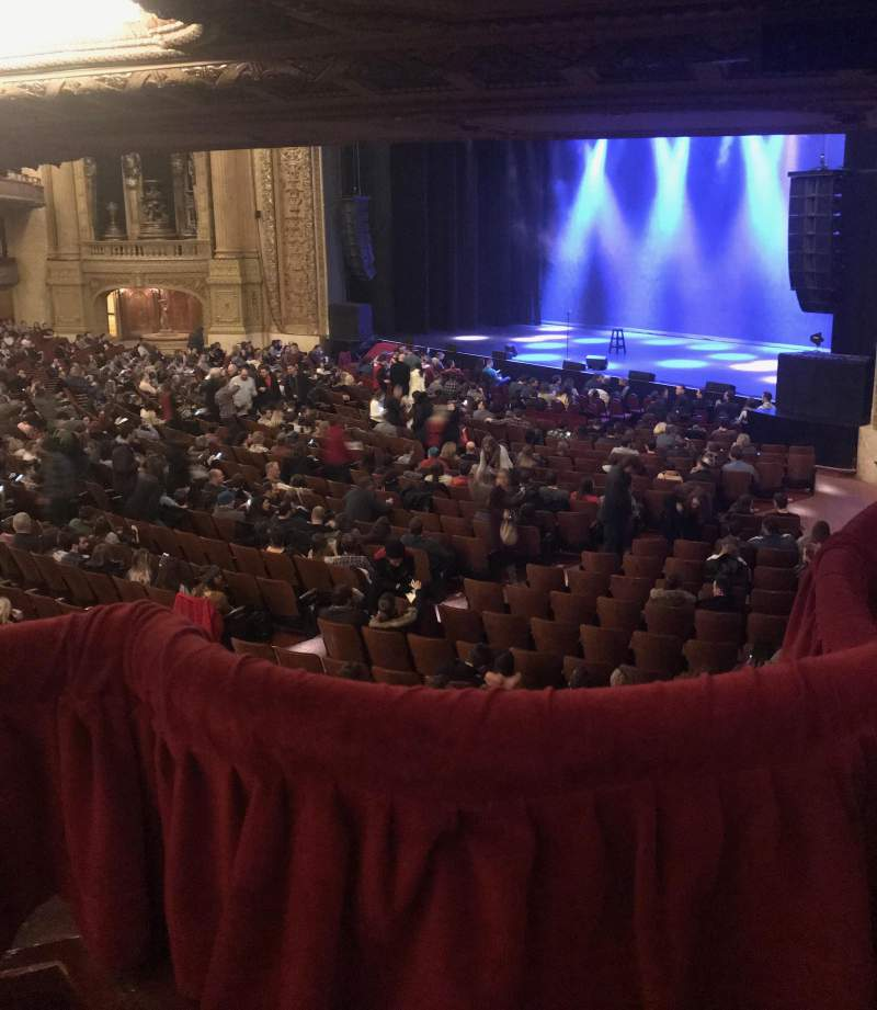 Seating view for Chicago Theatre Section Mezzanine Box E Row 1 Seat 1-2