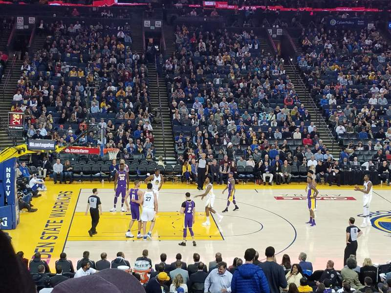 Seating view for Oracle Arena Section 102 Row 20 Seat 2