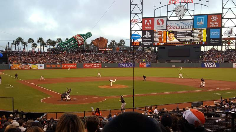 Seating view for Oracle Park Section 113 Row 29 Seat 5