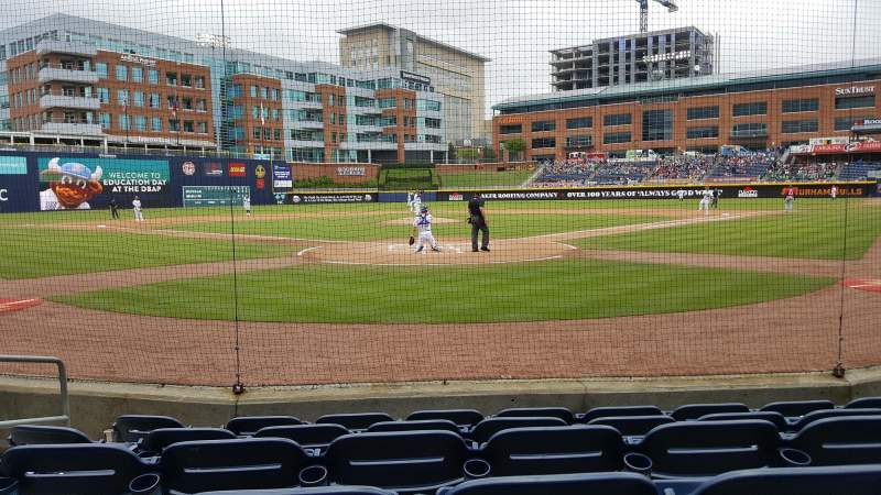Seating view for Durham Bulls Athletic Park Section 100 Row F Seat 5