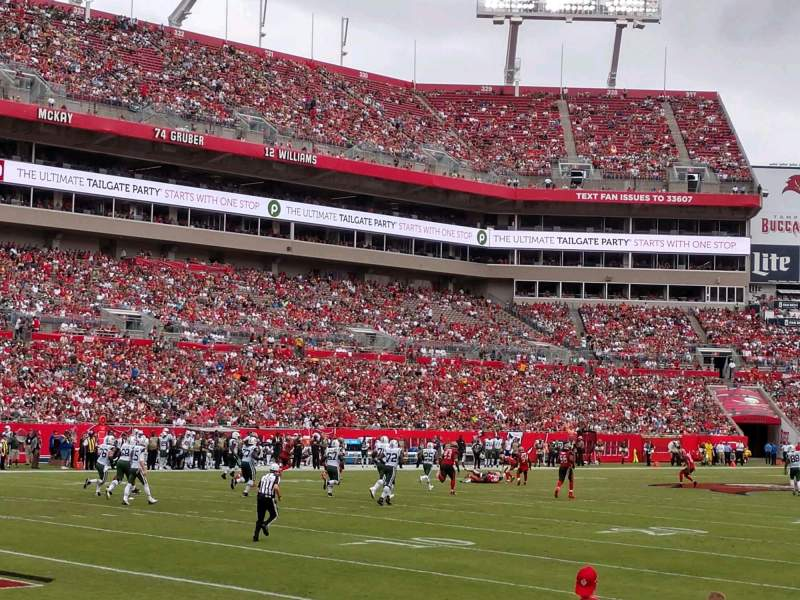 Seating view for Raymond James Stadium Section 102 Row E Seat 20