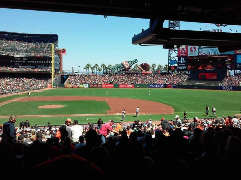 Seating view for Oracle Park Section 108 Row 36 Seat 14