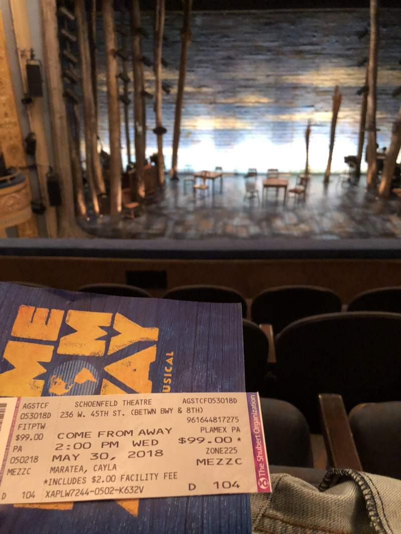 Seating view for Gerald Schoenfeld Theatre Section CENTER MEZ Row D Seat 104