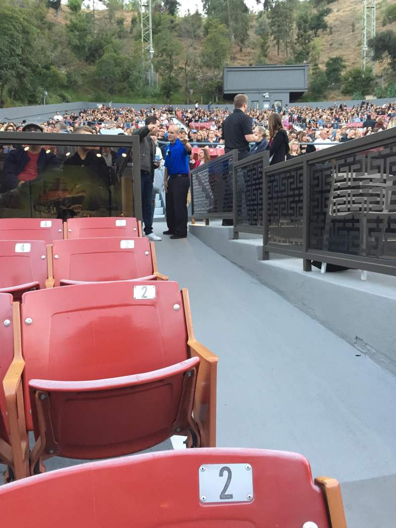 Seating view for The Greek Theatre Section A Right Row P Seat 2