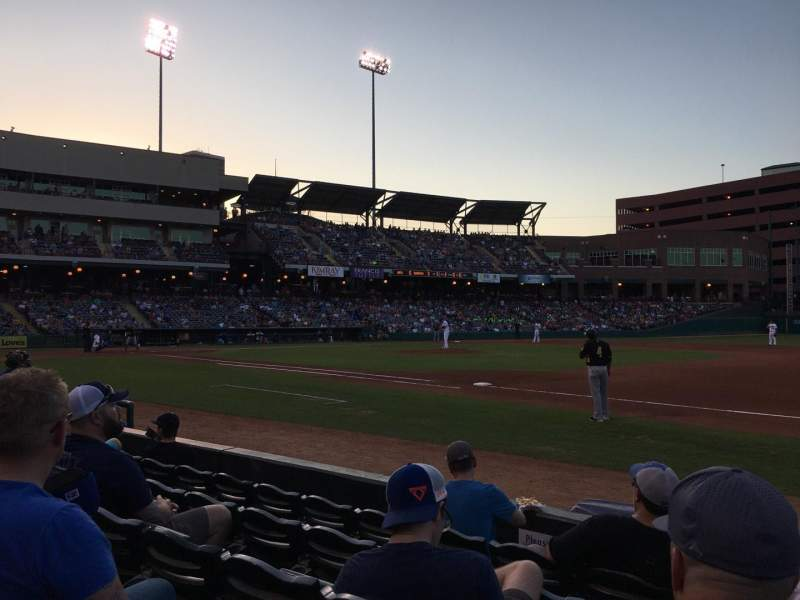 Seating view for Chickasaw Bricktown Ballpark Section 116 Row E Seat 7