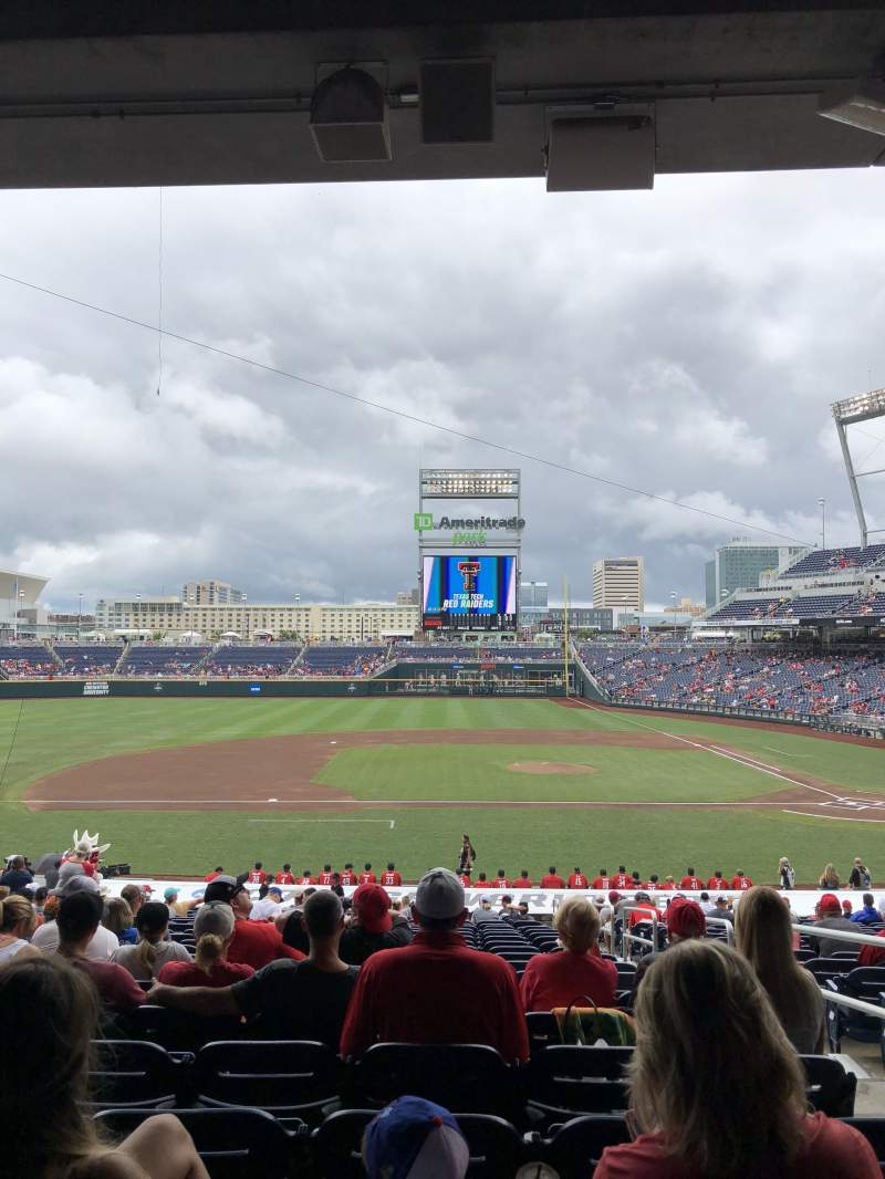 Seating view for TD Ameritrade Park Section 117 Row 29 Seat 3