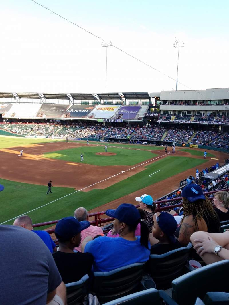 Seating view for Chickasaw Bricktown Ballpark Section 200 Row C Seat 14