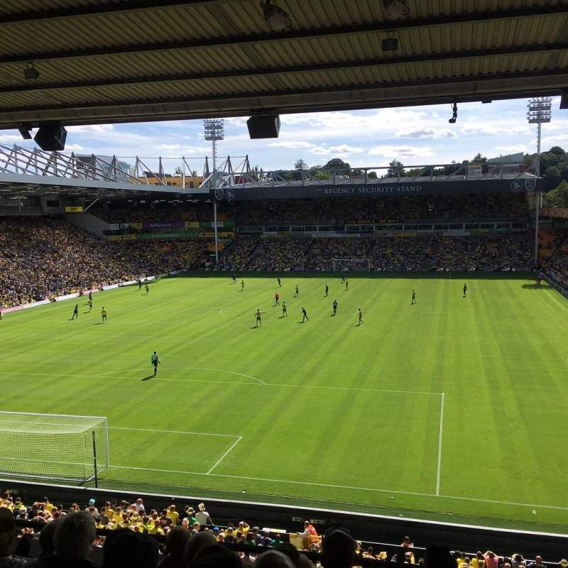 Seating view for Carrow Road Section BU Row G