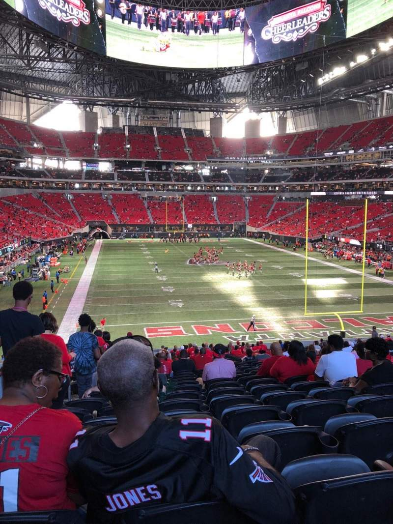 Seating view for Mercedes-Benz Stadium Section 102 Row 38 Seat 22