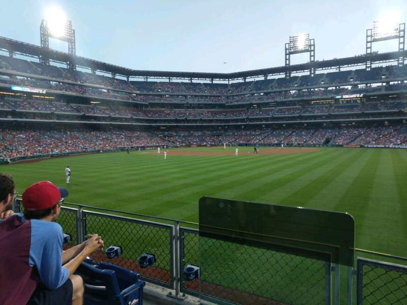 Seating view for Citizens Bank Park Section 101 Row 3 Seat 15