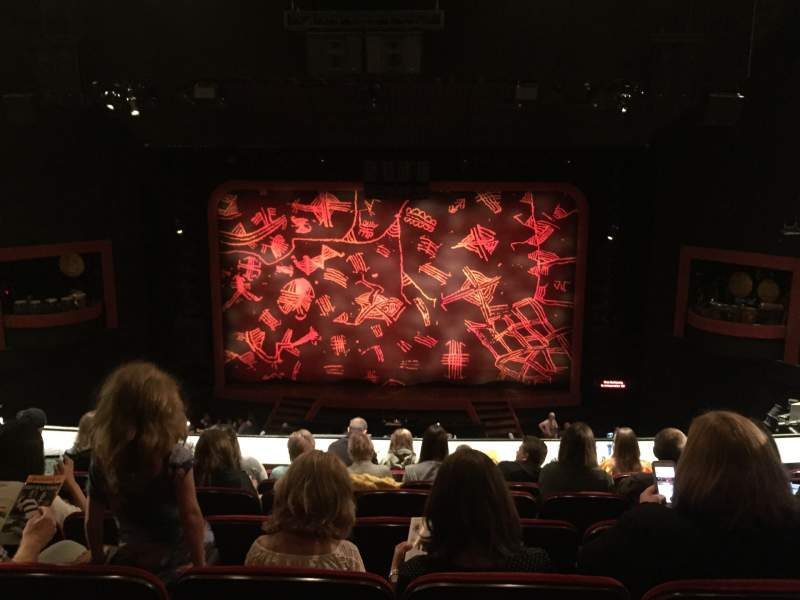 Seating view for Minskoff Theatre Section Mezzanine Row G Seat 130-131