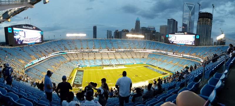 Seating view for Bank of America Stadium Section 545 Row 33 Seat 5