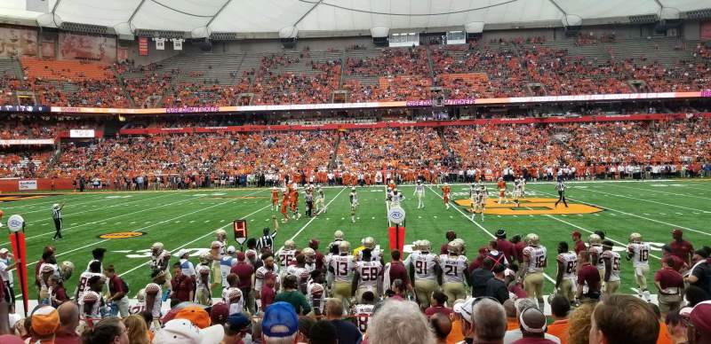 Seating view for Carrier Dome Section 117 Row 1 Seat 115