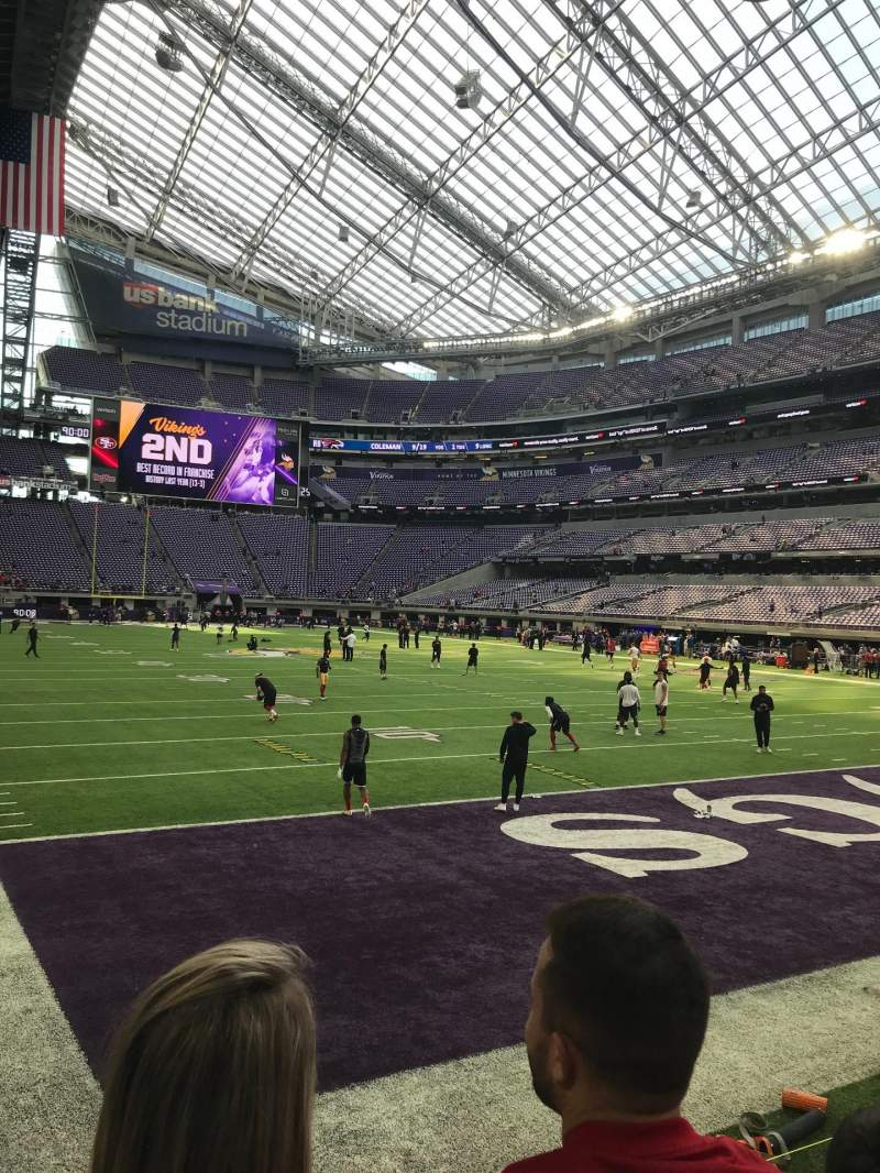 Seating view for U.S. Bank Stadium Section 101 Row 2 Seat 8