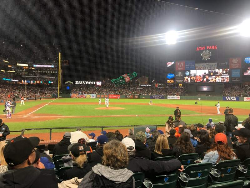 Seating view for Oracle Park Section 110 Row G Seat 9