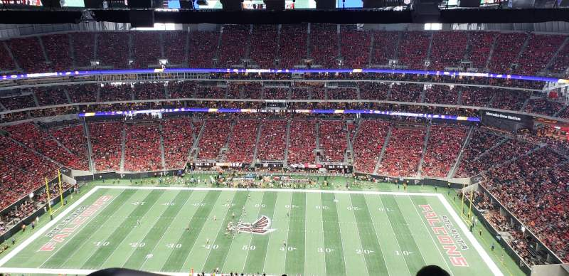 Seating view for Mercedes-Benz Stadium Section 310 Row 34 Seat 27