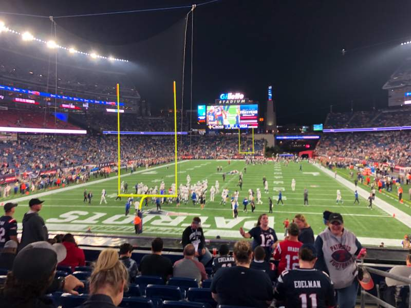 Seating view for Gillette Stadium Section 120 Row 26 Seat 1