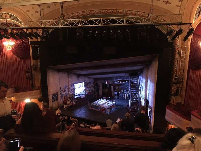 Seating view for Bernard B. Jacobs Theatre Section Mezzanine Row G Seat 10