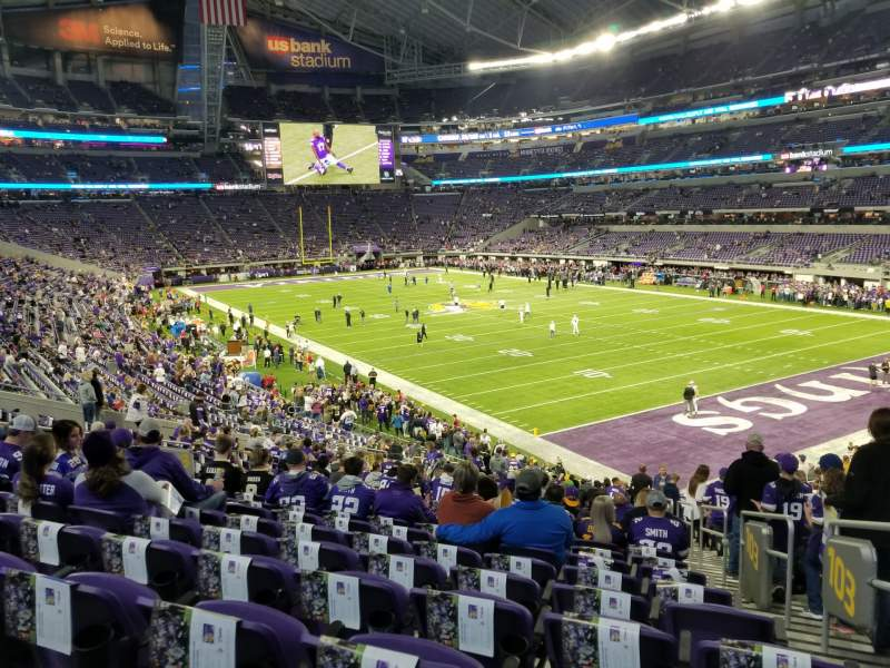 Seating view for U.S. Bank Stadium Section 103 Row 28 Seat 1