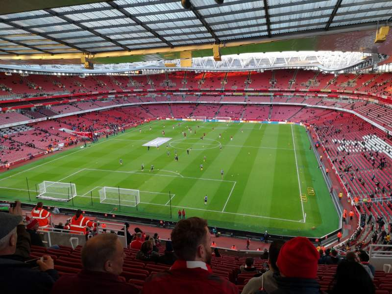 Seating view for Emirates Stadium Section Clock end Row 18 Seat 850