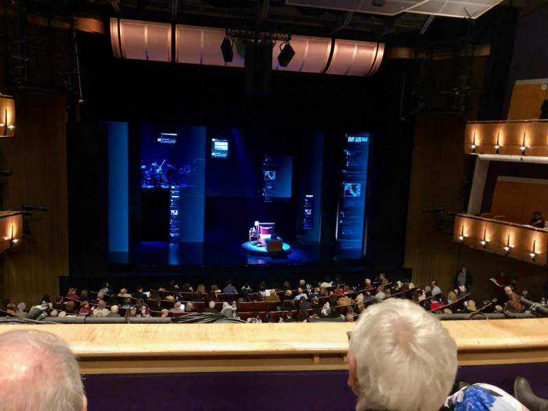 Seating view for Ahmanson Theatre Section Mezzanine Row B Seat 29