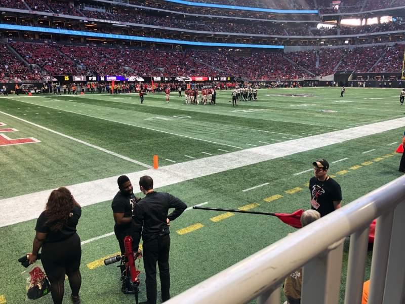 Seating view for Mercedes-Benz Stadium Section 133 Row 3 Seat 1