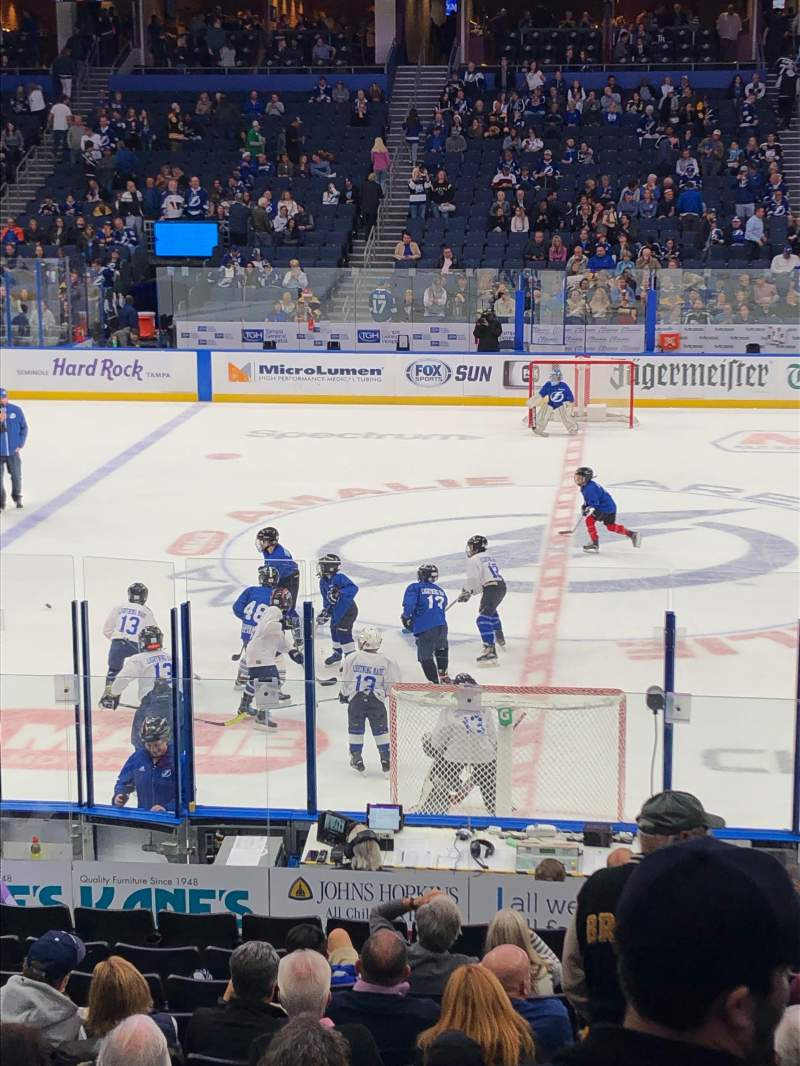 Seating view for Amalie Arena Section 116 Row S Seat 8