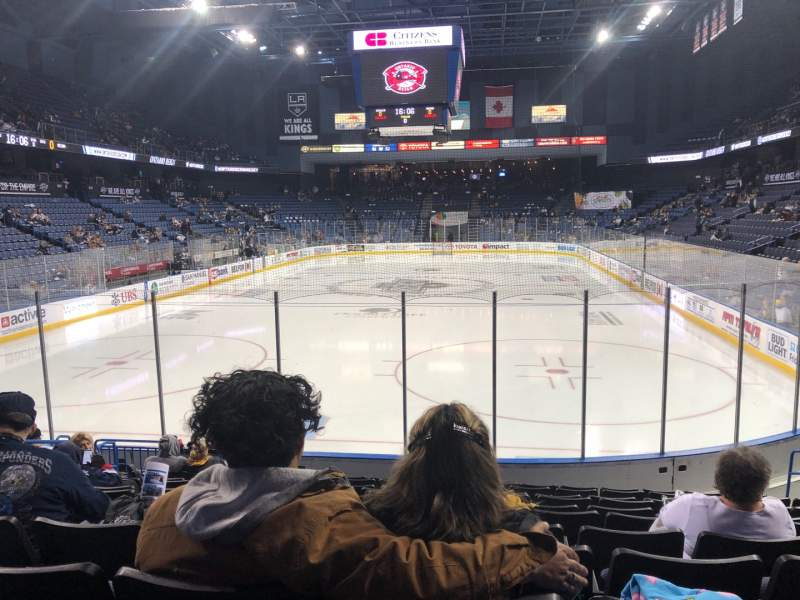 Seating view for Citizens Business Bank Arena Section 109 Row K Seat 16