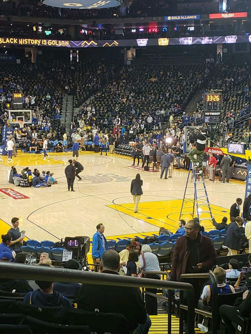 Seating view for Oracle Arena Section 109 Row 13 Seat 5-7