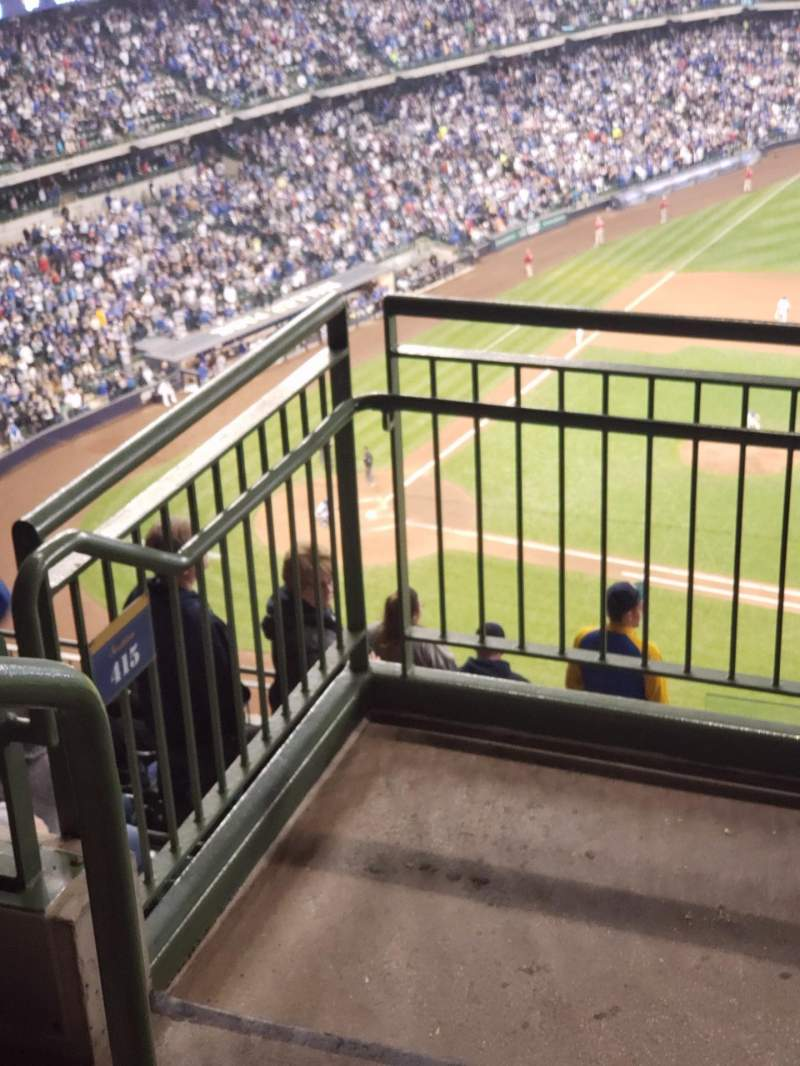 Seating view for Miller Park Section 414 Row 9 Seat 1