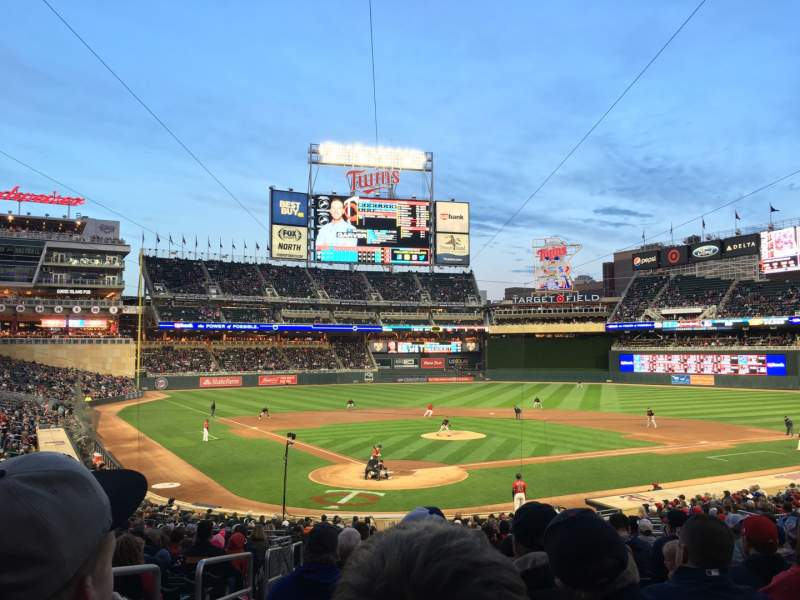 Seating view for Target Field Section 112 Row 15 Seat 12