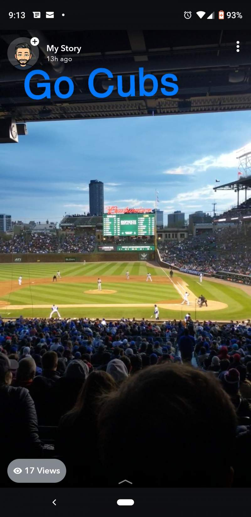 Seating view for Wrigley Field Section 213 Row 11 Seat 14