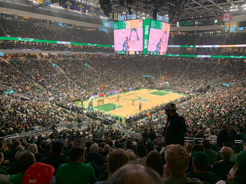 Seating view for Fiserv Forum Section 109 Row 32 Seat 6