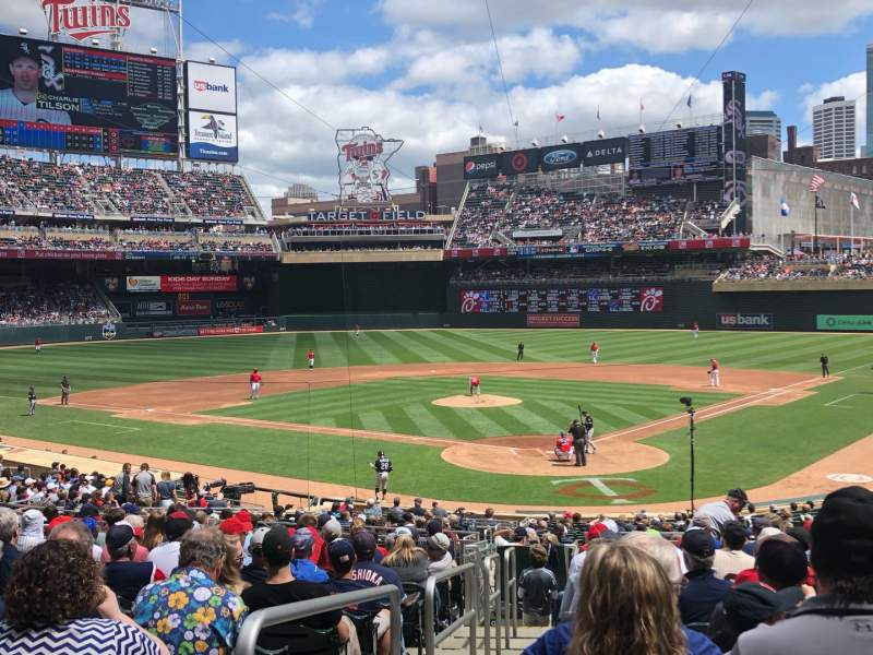 Seating view for Target Field Section 115 Row 15 Seat 13
