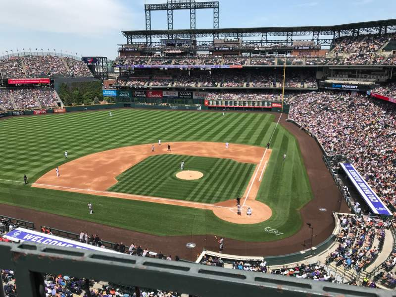 Seating view for Coors Field Section L334 Row 1 Seat 9
