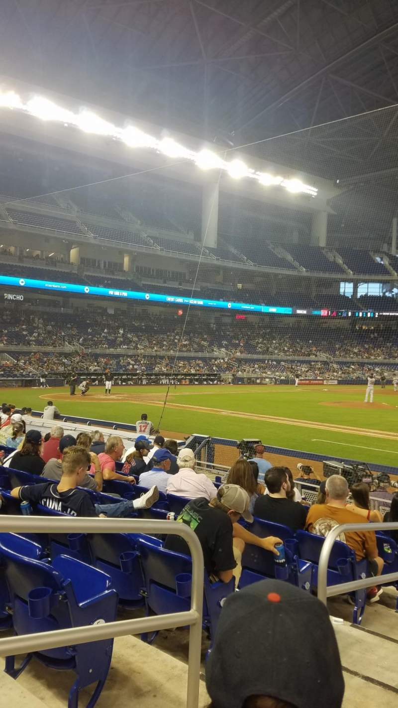 Seating view for Marlins Park Section 7 Row H Seat 21