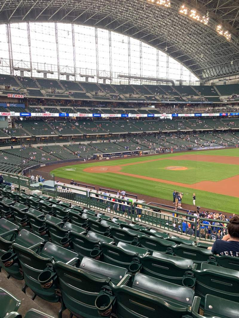 Seating view for Miller Park Section 211 Row 6 Seat 15-17
