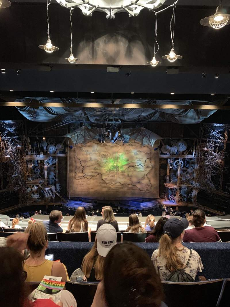 Seating view for Gershwin Theatre Section Rear Mezzanine Row H Seat 109 and 110