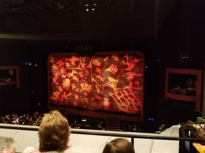 Seating view for Minskoff Theatre Section Mezzanine Row B Seat 143