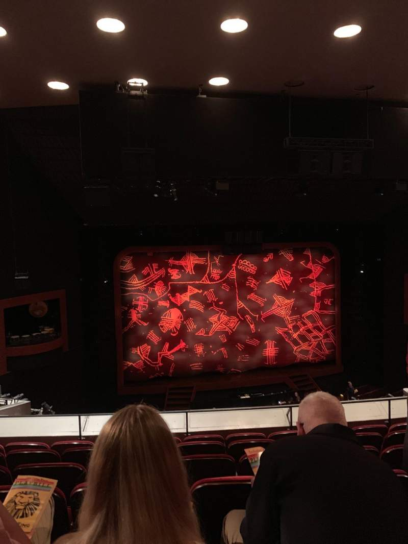 Seating view for Minskoff Theatre Section Mezzanine Row F Seat 110