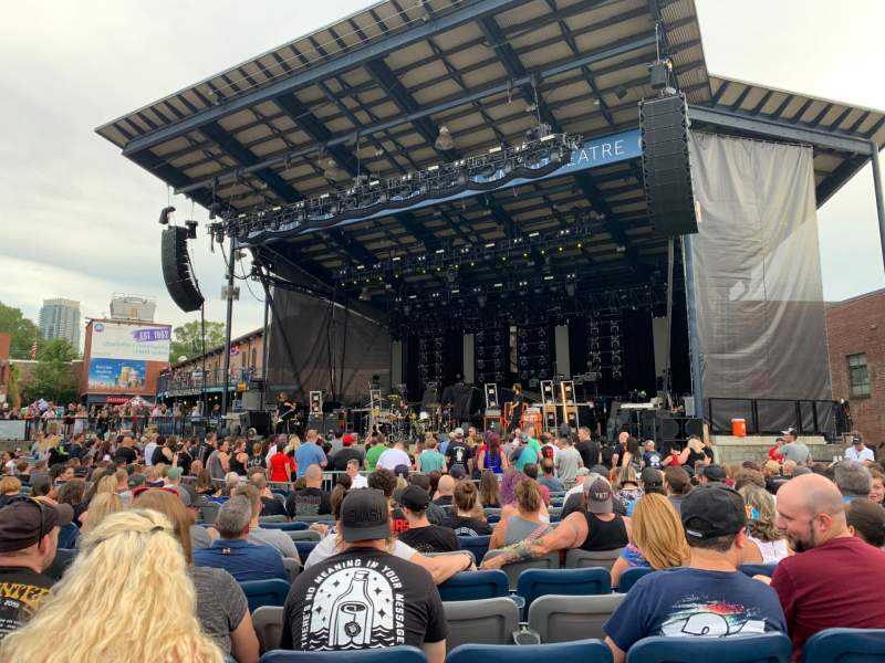 Seating view for Charlotte Metro Credit Union Amphitheatre Section 101 Row 20 Seat 25,26,27